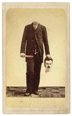 Selfie after self-beheading trick-photography, 19th century