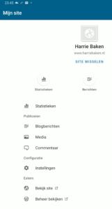 Hoofdmenu WP-app