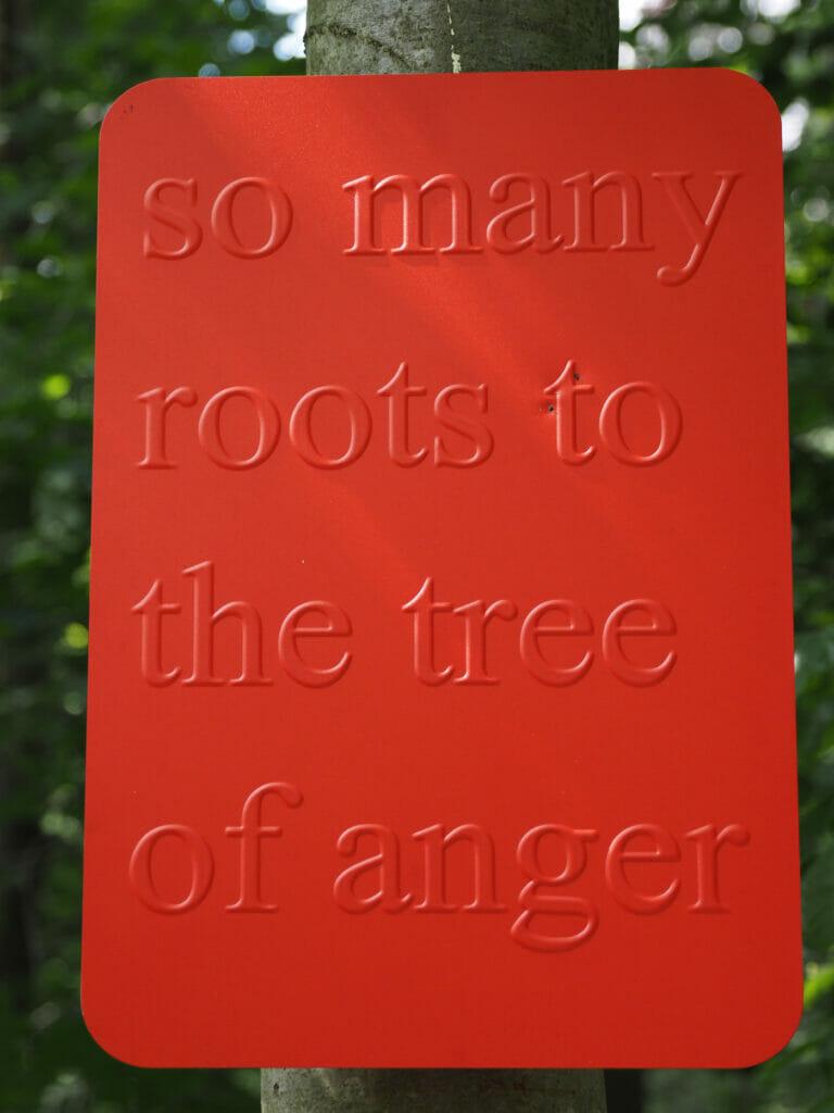 Monica Bonvicini, Tree of Anger (2021) [shield] so many roots, Lustwarande, Tilburg