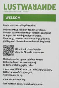 Vriend worden van Lustwarande vanaf 25 euro per jaar, bord 2021